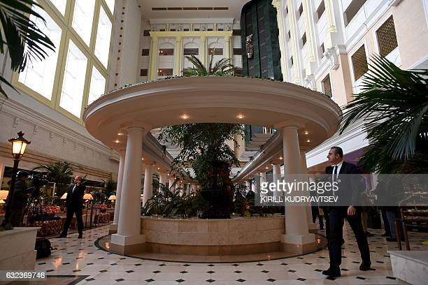 A view of the lobby of Astana's Rixos President Hotel the place that will host Syria peace talks in Astana on January 22 2017 / AFP / Kirill...