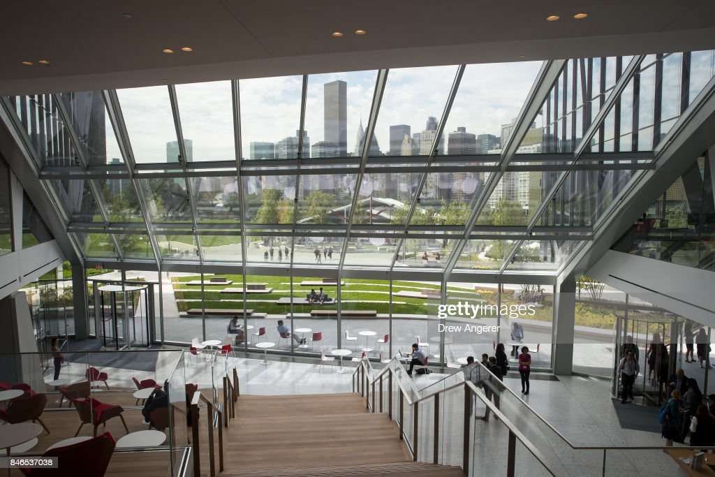 A view of the lobby of 'The Bridge' building on the new campus of Cornell Tech on Roosevelt Island, September 13, 2017 in New York City. Seven years ago, former New York City Mayor Michael Bloomberg created a competition that invited top universities to open an applied-science campus in New York City. Cornell Tech, an engineering and science campus of Cornell University, officially opened its doors on Wednesday.