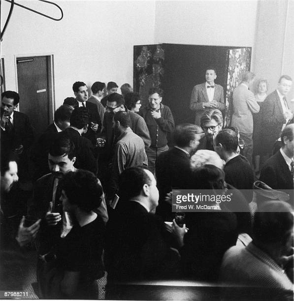 View of the lobby of the Living Theatre at a fundraising event for Jargon New York New York November 13 1959 Among those pictured is American writer...