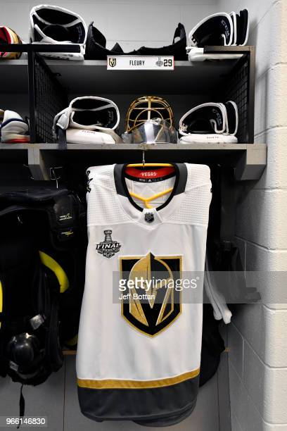 A view of the locker of MarcAndre Fleury of the Vegas Golden Knights in the locker room prior to Game Three of the Stanley Cup Final against the...