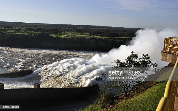 View of the locks at the Itaipu hydroelectric dam following the overflowing of the Parana and Paraguay rivers on June 12 in Ciudad del Este Paraguay...