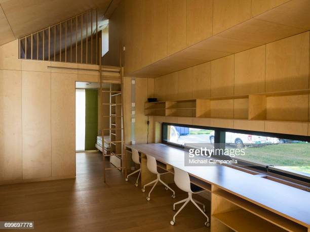 View of the loft in a zeroemissions home which was built for an exhibition during the 2017 Starmus Festifval on June 22 2017 in Trondheim Norway