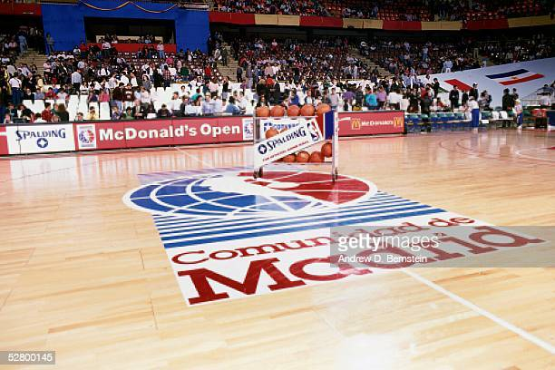 A view of the logo at center court prior to the game between the Boston Celtics against Real Madrid during the 1988 McDonald's Open circa 1988 in...