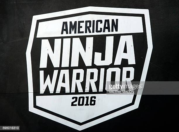 View of the logo at the 'American Ninja Warrior' screening and course demonstration In celebration of the show's first Emmy Award nomination at...