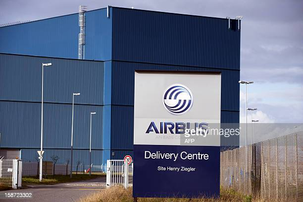 View of the logo of European aircraft manufacturer Airbus at the headquarters in Toulouse southwestern France on December 29 2012 AFP PHOTO / REMY...