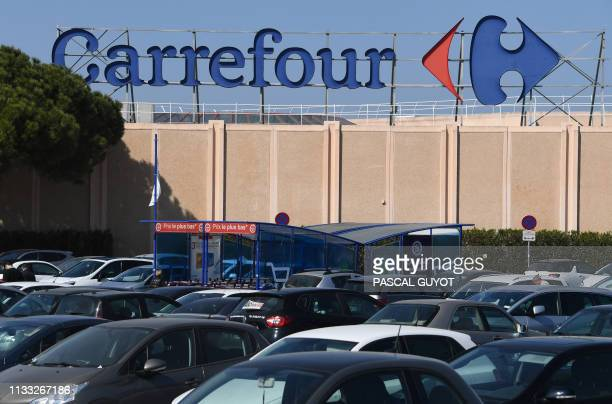 View of the logo of the French supermarket chain Carrefour on March 28 2019 in Montpellier southwestern France Carrefour retail group has announced...