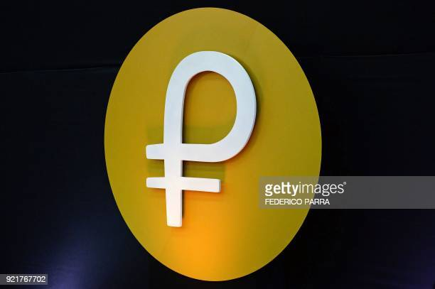 View of the logo of the 'Petro' during a press conference to launch to the market a new oilbacked cryptocurrency called 'Petro' at the Miraflores...