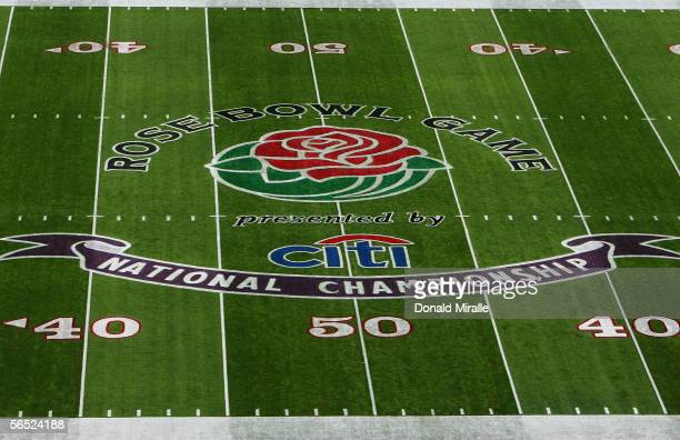 A view of the logo on the Rose Bowl field before the start of the BCS National Championship Rose Bowl Game between the USC Trojans and the Texas...