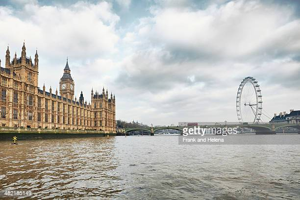 View of the London Eye and the Houses of Parliament, London, UK