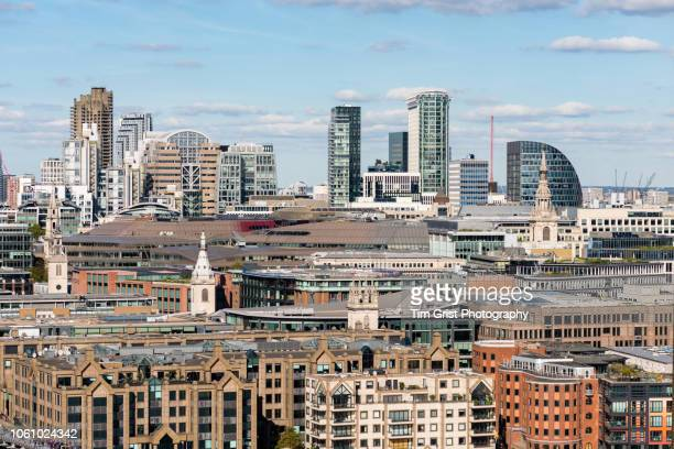 a view of the london skyline towards cheapside in the city of london - st mary le bow church stock pictures, royalty-free photos & images