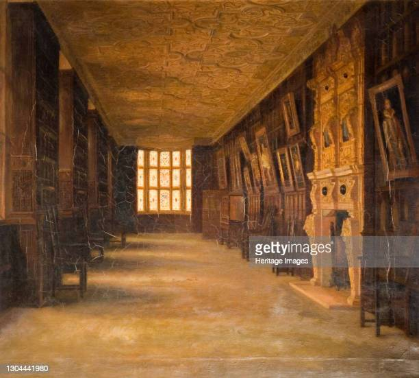 View Of The Long Gallery At Aston Hall, 1870-1880. Artist Cecilia C Foster.