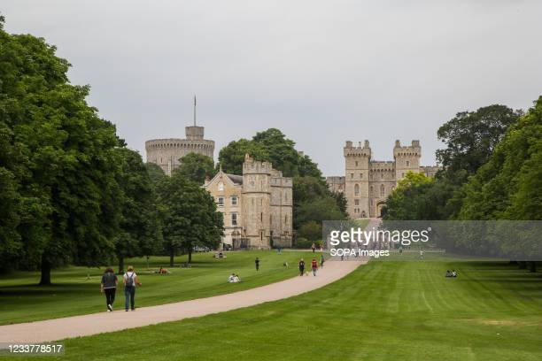 View of The Long Walk and Windsor Castle, the current residence of Queen Elizabeth II.