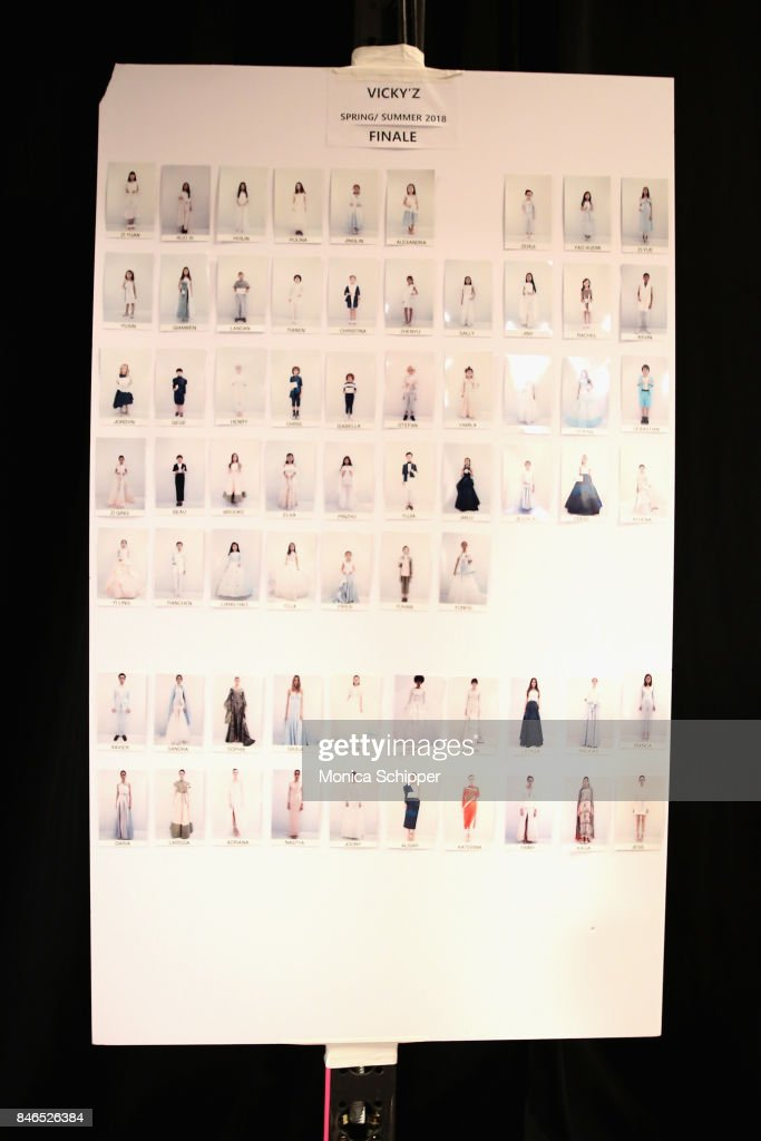 A view of the lookboard backstage at the Vicky Zhang fashion show during New York Fashion Week: The Shows at Gallery 1, Skylight Clarkson Sq on September 13, 2017 in New York City.