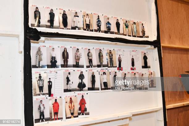 A view of the lookboard backstage for the Just In XX Presentation at Gallery II at Spring Studios on February 9 2018 in New York City
