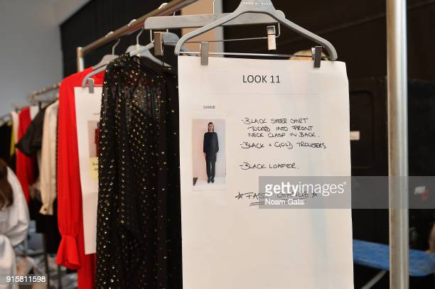 A view of the looks backstage for Noon By Noor during New York Fashion Week The Shows at Gallery II at Spring Studios on February 8 2018 in New York...
