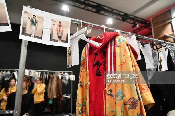 View of the looks backstage for the Just In XX - Presentation at Gallery II at Spring Studios on February 9, 2018 in New York City.