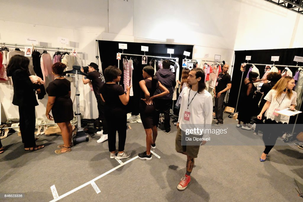 A view of the looks being prepared backstage for the Chocheng fashion show during New York Fashion Week: The Shows at Gallery 3, Skylight Clarkson Sq on September 13, 2017 in New York City.