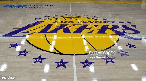 View of the Los Angeles Lakers logo on the floor of the UCLA Health Training Center their training faculity on May 29 2018 in Los Angeles California...