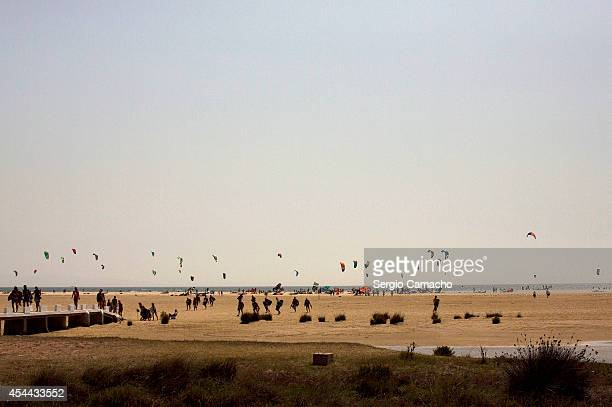 A view of the Los Lances beach where kite surfers participate in the Guinness World Record attempt for the most kitesurfers sailing together at one...