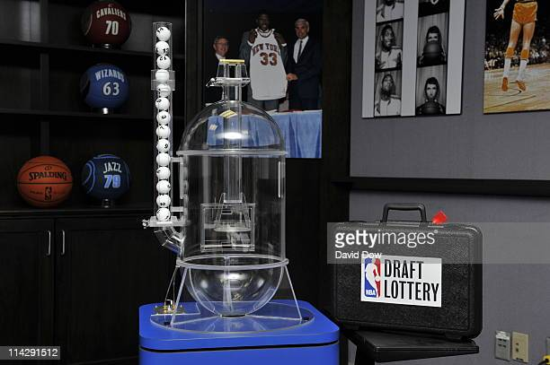 A view of the lottery machine prior to the 2011 NBA Draft Lottery at the Studios at NBA Entertainment on May 17 2011 in Secaucus New Jersey NOTE TO...