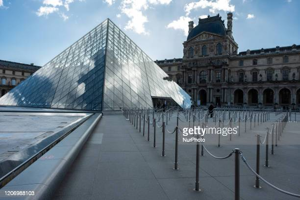 View of the Louvre museum quieter than ever in Paris, France, on March 13, 2020. The day after the President 's intervention on Television about...