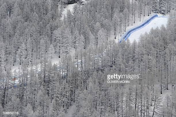 A view of the low part of the race track of the Women's World Cup downhill on January 29 2011 in Sestriere Thick fog forced the cancellation of...