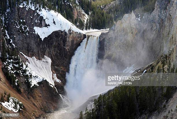 View of the Lower Falls at the Yellowstone Grand Canyon in the Yellowstone National Park Wyoming on June 2 2011 Yellowstone National Park was...