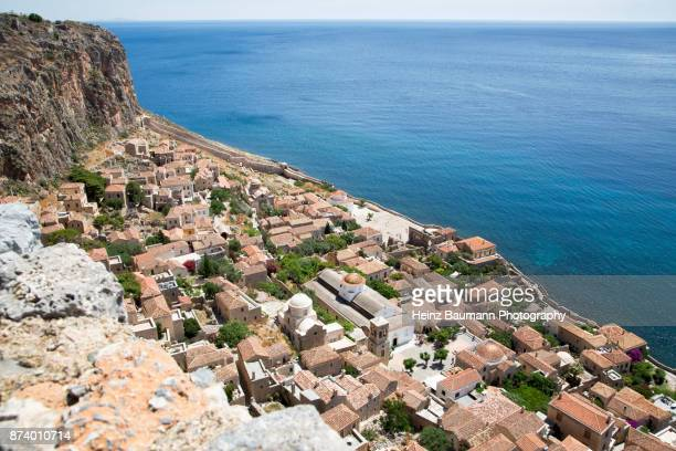 View of the Lower Town from the Upper Town of Monemvasia, Peloponnese, Greece