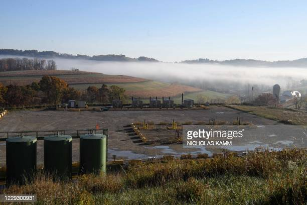 View of the Lusk fracking facility in Scenery Hill, Pennsylvania, on October 22, 2020. - There are many complexities around the debate over fracking...