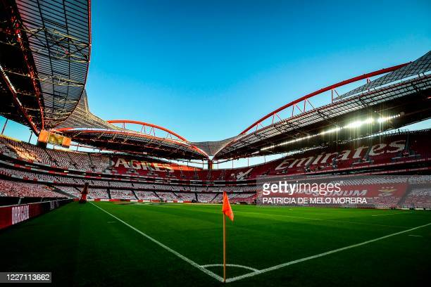 View of the Luz stadium in Lisbon taken on July 14, 2020 before the Portuguese League football match between Benfica and Vitoria Guimaraes.
