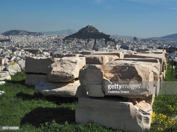 View of the Lycabettus Hill from the Acropolis of Athens