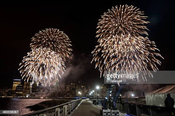 A view of the Macy's Fireworks during the Super Bowl Kickoff Spectacular at Liberty State Park on January 27 2014 in Jersey City New Jersey