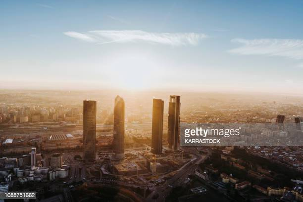 view of the madrid city from a helicopter - madrid stock-fotos und bilder