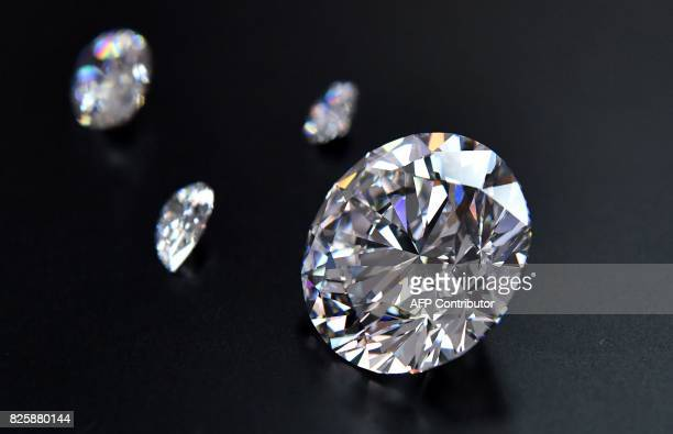A view of the main 5138carat roundcut diamond the Dynasty among other gems from Russian diamond miner Alrosas Dynasty polished diamonds collection in...