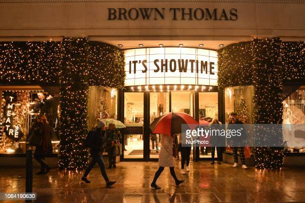 View of the main antrance to Brown Thomas. Brown Thomas unveiled their ever-so-sophisticated eight-window display with this years theme - Its...