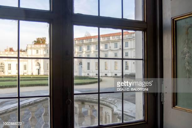 View of the main courtyard seen through a window of the palace Hunting residence by Filippo Juvarra Stupinigi Piedmont Italy 18th century