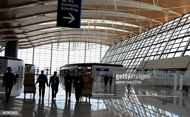 View of the main departures hall of the new terminal two at the Pudong International Airport in Shanghai on March 26 2008 The new terminal is part of...