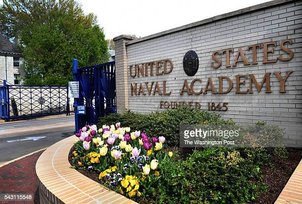 View of the main entrance gate of the US Naval Academy in Annapolis MD on April 19 2016