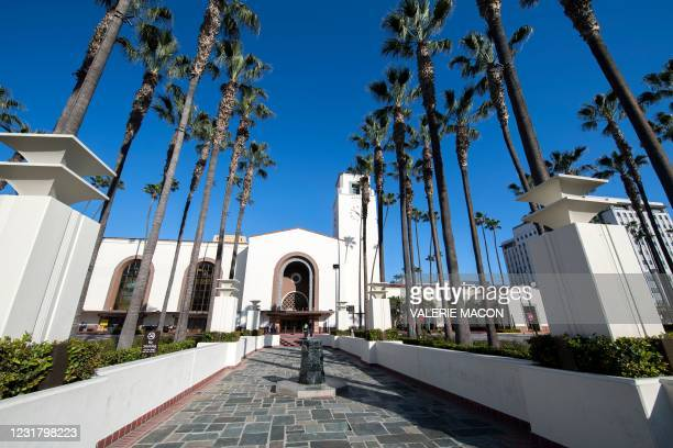 View of the main entrance of the Downtown Los Angeles Union Station on March 18 where part of the 2021 Oscars Ceremony will take place. - Academy...