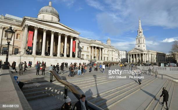 A view of the main entrance of the National Gallery in Trafalgar Square which was founded in 1824 and has a collection of 2300 paintings dating from...