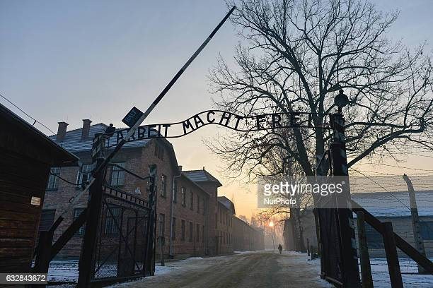 A view of the main etrance to Auschwitz camp The 72nd anniversary event commemorating the liberation of the German Nazi concentration and...