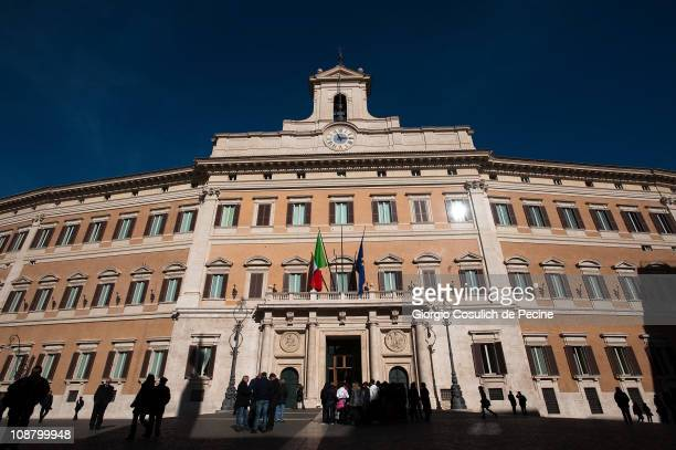View of the main facade of the Italian Parliament, Palazzo Montecitorio, on February 3, 2011 in Rome, Italy. Parliament will decide from 6pm today on...