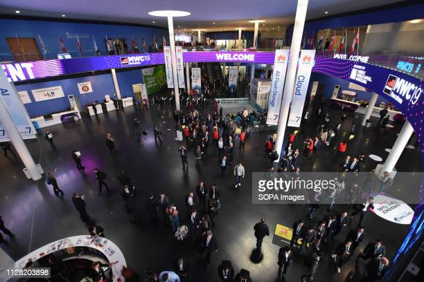 L´HOSPITALET CATALONIA SPAIN View of the main hall of entrance and exit of the visitors to the Mobile World Congress 2019 in Barcelona