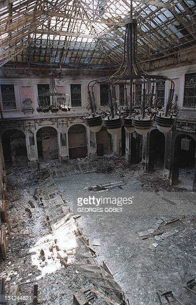 A view of the main hall of the central Post Office destroyed by Serbian shelling in Sarajevo on June 4 1992 The city has been under siege for the...