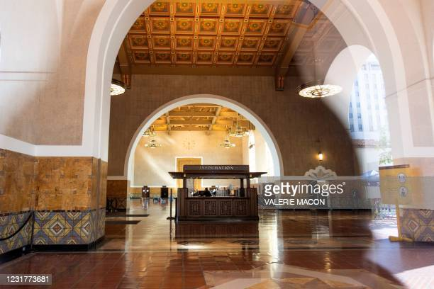 View of the main hall of the Union Station, downtown L.A. Where part of the Oscars Ceremony will take place Sunday, April 25, in Los Angeles,...