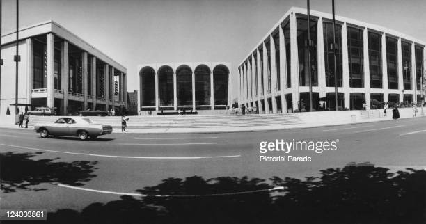 A view of the main plaza at the Lincoln Center for the Performing Arts New York City circa 1975 The buildings are the David H Koch Theater the...
