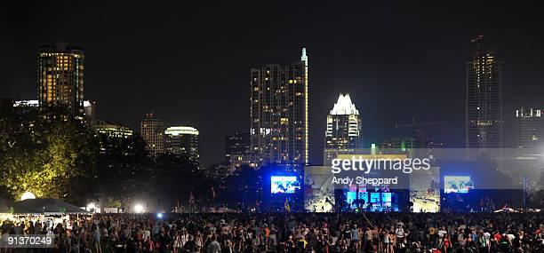 View of the main stage with City back drop on Day 1 of Austin City Limits Festival 2009 at Zilker Park on October 2 2009 in Austin Texas