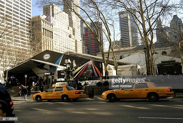 A view of the main tent at Olympus Fashion Week Fall 2005 at Bryant Park February 5 2005 in New York City