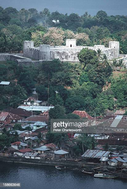 A view of the main town on Banda Naira as seen from the side of the Volcano on the Island of Gunang Api Above the town is Fort Belgica which was...