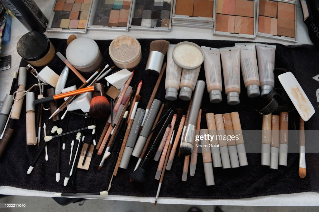 A view of the make-up station backstage for Calvin Luo during New York Fashion Week: The Shows at Gallery I at Spring Studios on September 12, 2018 in New York City.